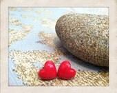 Red Heart Post Earrings Vintage