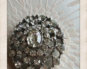 Vintage Bridal Crystal Rhinestone Brooch