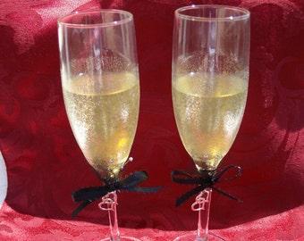 Hand Painted Wedding ....Anniversary....Toasting Flutes....Silver....Black....Glamor