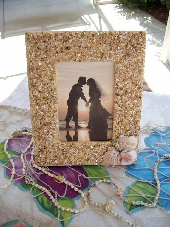 Seashell Picture Frame.....Beach Theme....Destination....Anniversary....Bridal Shower