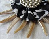 Urchin Brooch, batik, fabric, shells, yo yo, black, white, mother of pearl, antique, vintage, button, pin, natural, bag