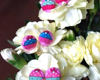 Cute as a cupcake-Covered Button Earrings