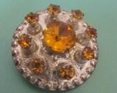 Vintage WBs Sterling Silver Brooch, rhinestone brooch, Crown  Brooch Pin,