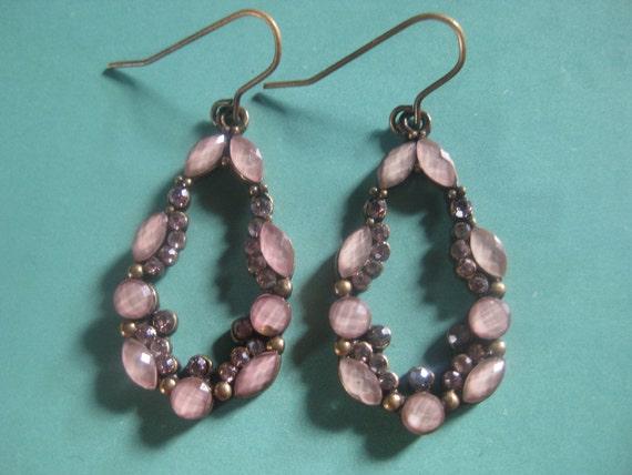 Vintage Handmade Drop purple rhinestones/ pink gemstones Earrings