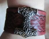 Leather Bracelet, Celtic Bracelet, Thors Hammer, Raisin Mahogany and Silver