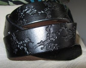 1 1/2 Inch Leather Belt Flower Design, Handmade Belt