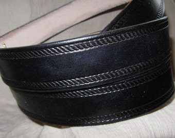 1 1/2 Inch Leather Belt Rope Edge Design, Handmade Belt