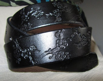 1 1/2 Inch Leather Belt Flower Design, Handmade Belt