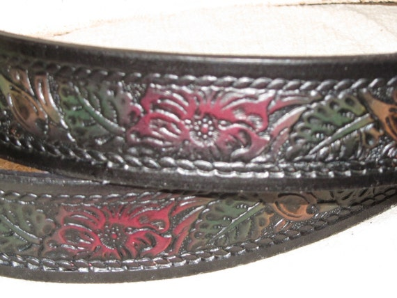 Handmade Leather Belt, Rope Floral, Black, Red, and Green, USA Made