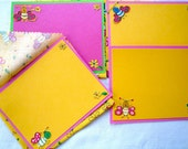 Honey Bees and Flowers Fabric Envelope and Notecard Yellow set of 4