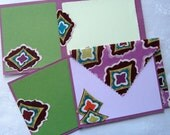 Stretched Purple Diamondologie Fabric Envelopes and Note cards set of 4