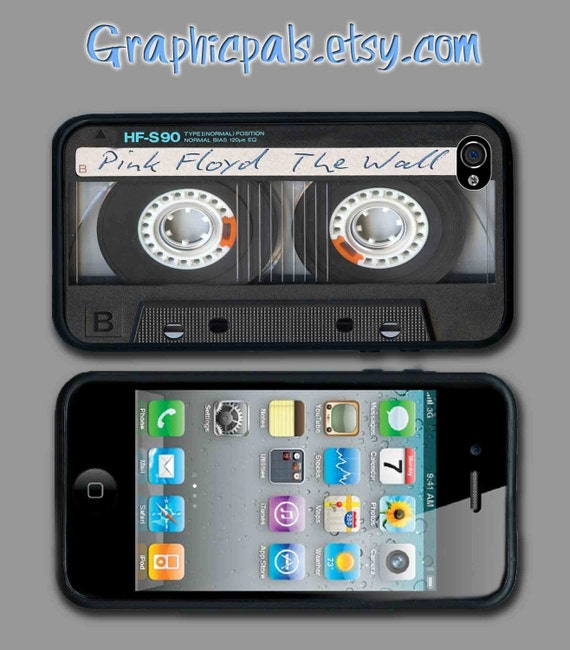 iphone 4 4s case Retro Black  Blank  Cassette Tape with custom text design