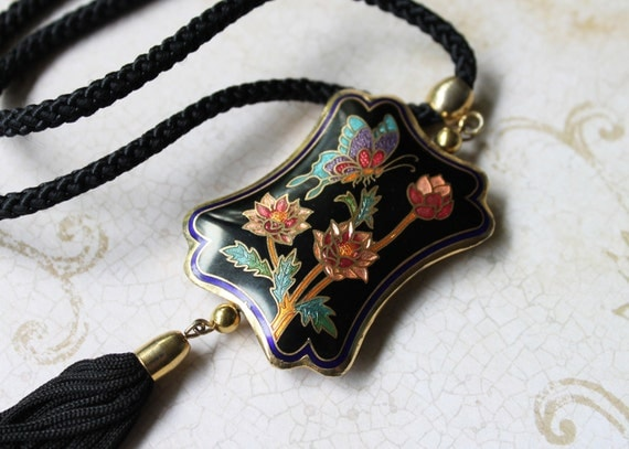 RESERVED for Fleurdamour -- Black Cloisonne Butterfly Pendant Necklace on Braided Cord, with Tassel