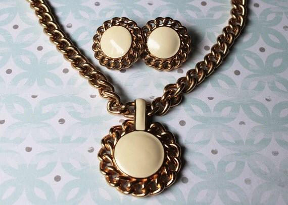 Vintage Monet White Enamel/Gold Necklace and Earrings Parure