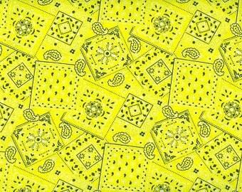 cowgirl bandana yellow fabric Cotton BTY
