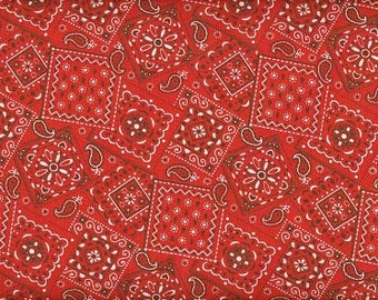 Red Bandana Fabric 100% Cotton Fabric   1 yard