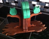 Woodland Animals Nursery Bookends - Wooden owl in tree bookends