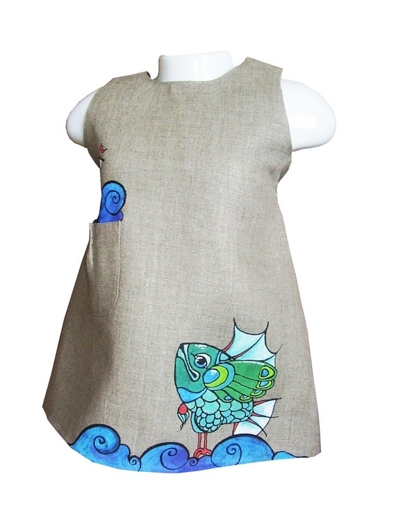 """Girls dress in light grey color-linen-painted dress-unit work-size by height 34""""/86 cm for 12-18 month - children clothing - girl dress"""