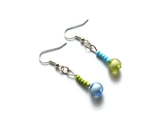 Funky green and blue beaded earrings