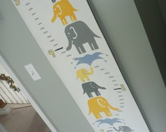 Growth Chart - Stacked Elephants  - Yellow and Gray - Customizable Handpainted Canvas