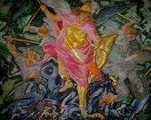 Silk Original batik handpainted  painting Angel.Archangel Michael Christian Religious painting  motives classic painting .