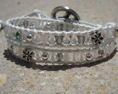 Double Wrap White Leather Bracelet with Crystal Mix
