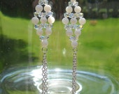 Mother of Pearl and Swarovski Crystal Chain Fringe Earrings