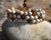 Howlite and Shell Triple Row Bracelet