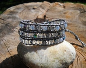 Triple Wrap Light Grey Leather Bracelet with Crystal Mix