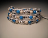 Triple Wrap White Leather Bracelet with Turquoise and Howlite