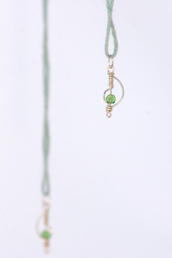 Handmade Sterling Silver Beaded Knitting Stitch Markers --- Wire Wrapped Curves Kissed With A Dainty Green Crystal