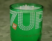 Container Candle from a Re-Purposed Vintage 1 Liter 7up Bottle - 3 Wick Candle Unscented