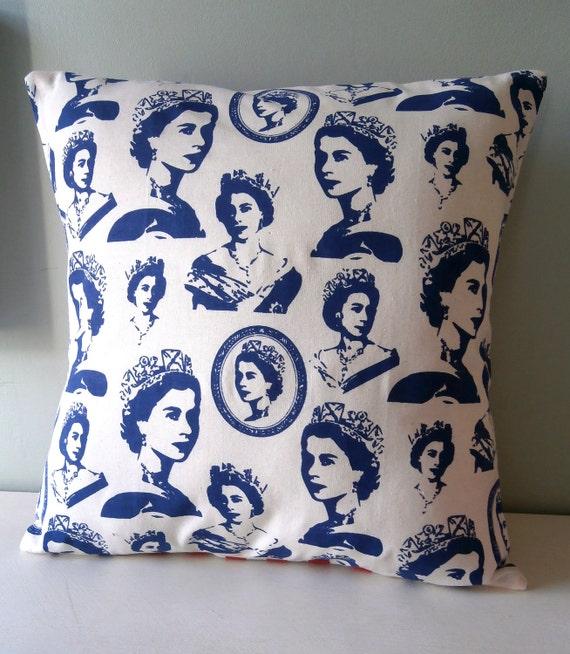 OOAK Queen Elizabeth Jubilee Cushion / Pillow cover Upcycled Teatowel