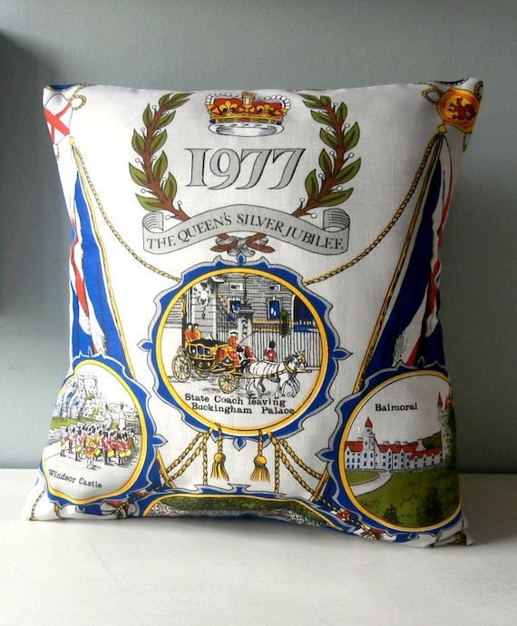 OOAK Royal vintage queen jubilee Cushion / Pillow cover Upcycled Teatowel