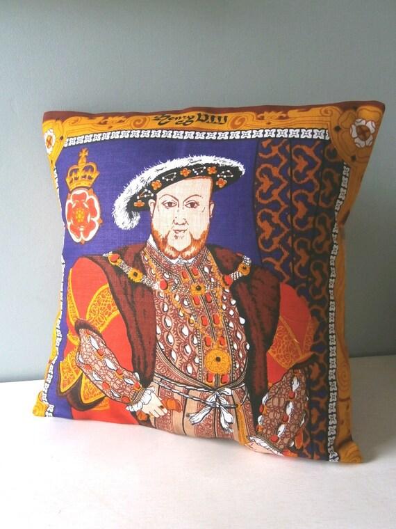 King Henry VIII Tudor Cushion / Pillow cover Upcycled Teatowel