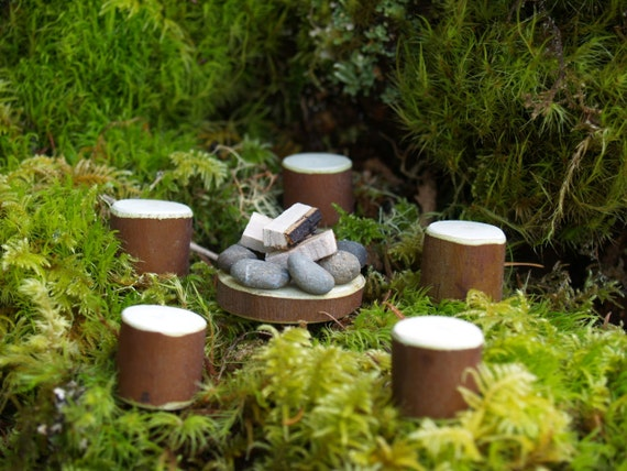 Fairy Garden Fire Pit with Five Stools