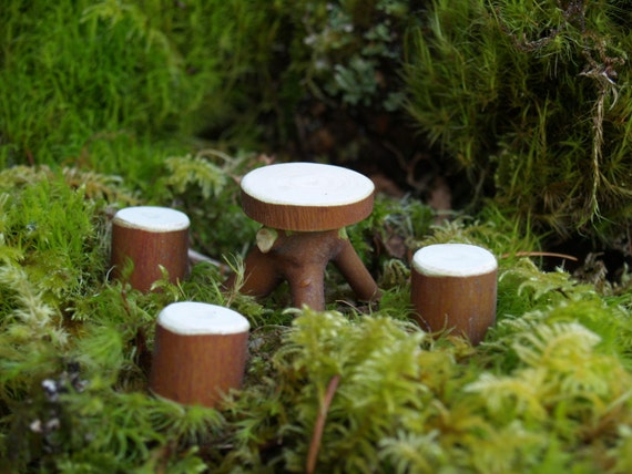 Fairy Garden Table and Three stools