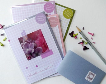 Flowerdots purple / / set 001 / / 4 cards with hand-assembled details