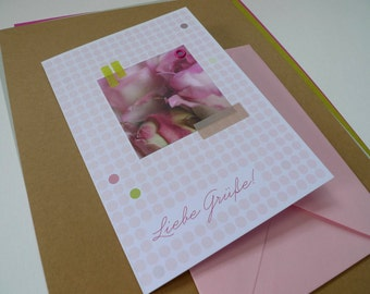Flowerdots flamingo / / greetings / / 1 card with hand-assembled details
