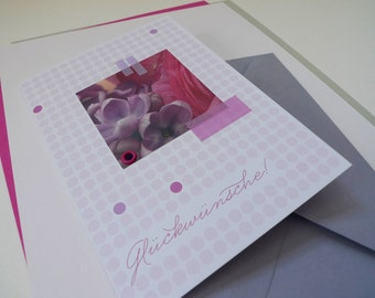 Flowerdots lilac / / congratulations / / 1 card with hand-assembled details
