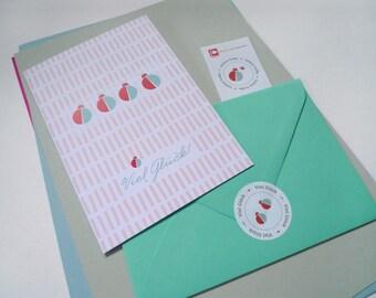 Maikäfer Caribbean / / good luck / / 1 card plus 2 sticker