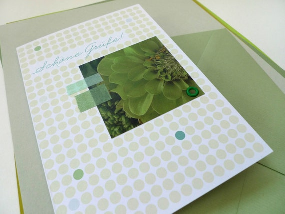 Flowerdots Green / / Greetings / / 1 card with hand-assembled details