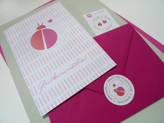 Maikäfer amarena / / congratulations / / 1 card plus 2 sticker
