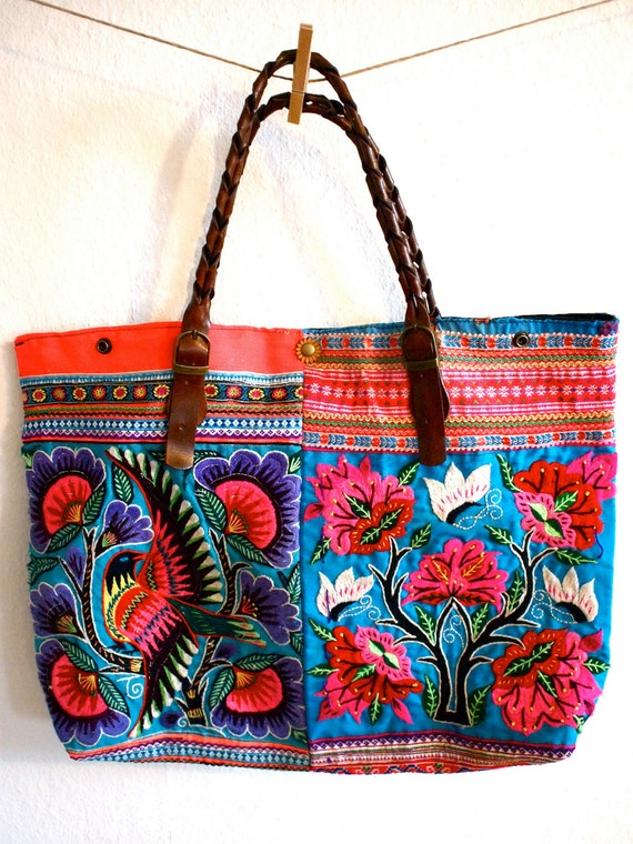 S A L E 30% - Flipping-in Floral and Bird Embroidered Hill Tribe Shoulder Bag with Leather Handles