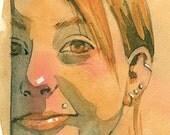 Red Hair in the Sunlight - original watercolor painting by jaime hernandez