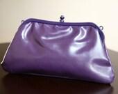 retro vintage 1980s purple clutch bag purse