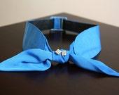 original retro vintage 1950s blue cinch belt with bow and diamante detail - size small/medium