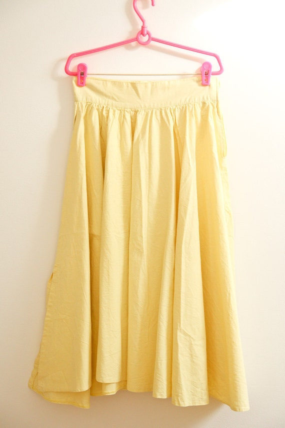 Bright yellow summer 1950's circle skirt