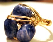 Wire Wrapped Ring - Brass Wire with Blue Sodalite Nuggets