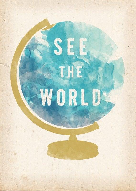 See the World Globe print 8 x 10